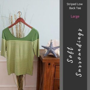 Soft Surroundings | Striped Low Back Tee